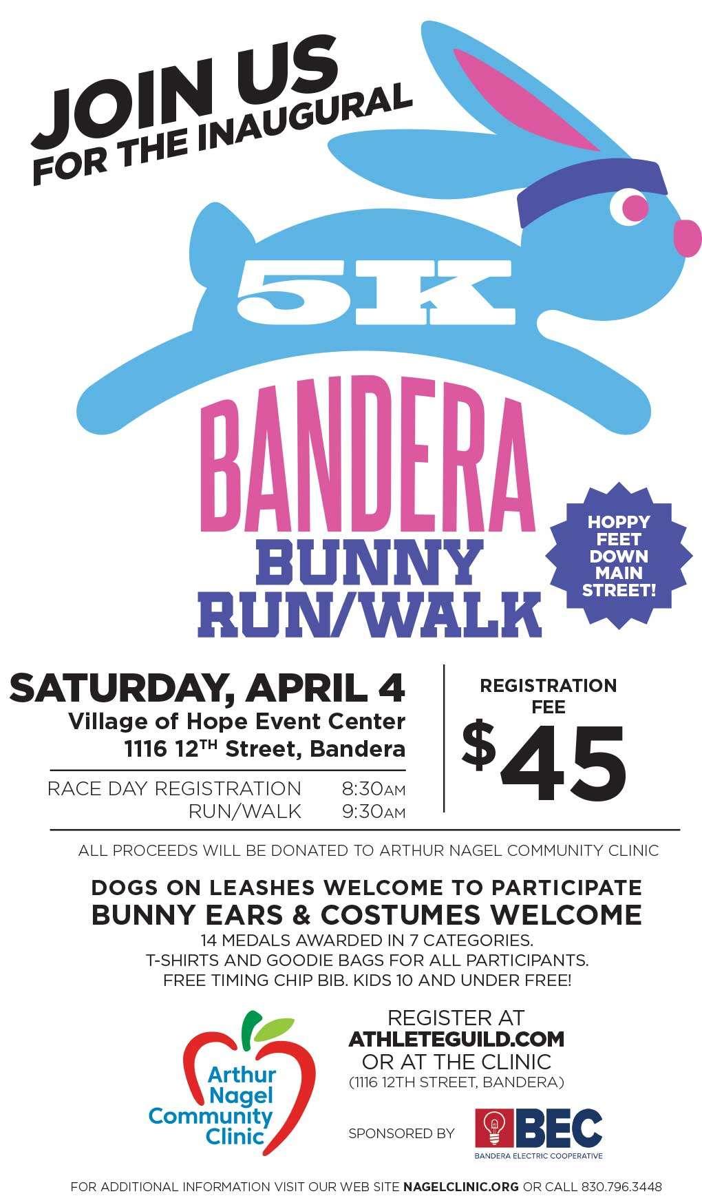 Join Us for the Inaugural 5k Bandera Bunny Run / Walk Saturday, April 4